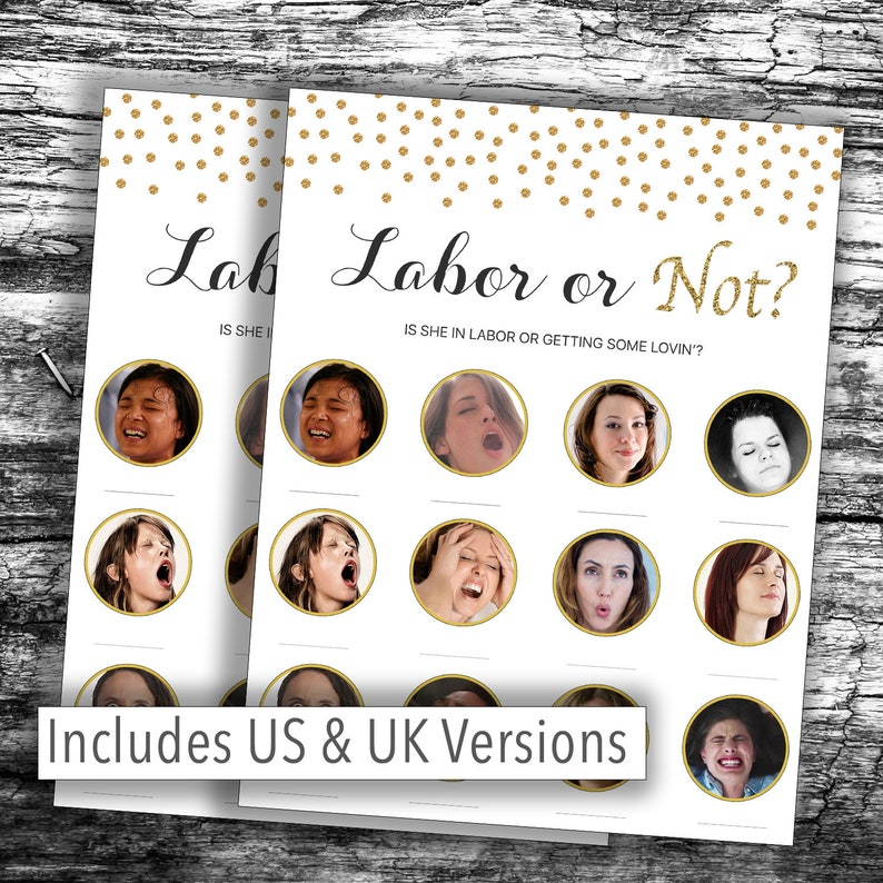 8961152e278 Instant Download* HILARIOUS Baby Shower Game - Gold Confetti Labor or NOT,  PORN , Labor or Lovin - Various Packs - Loving Boy, Girl, Unisex