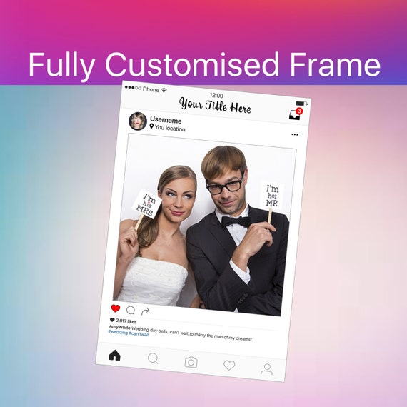 Photo Booth Frame Instagram Sign Social Media Photo Prop Etsy