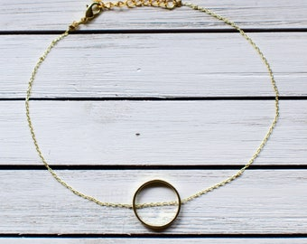 Gold Ring Necklace- Gold Ring on Gold Chain Choker