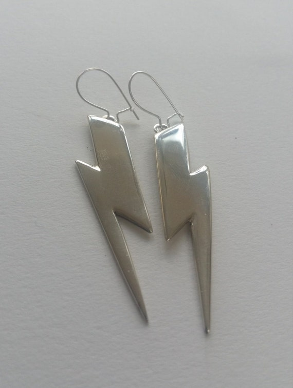 Bowie-esque lightning bolt earrings