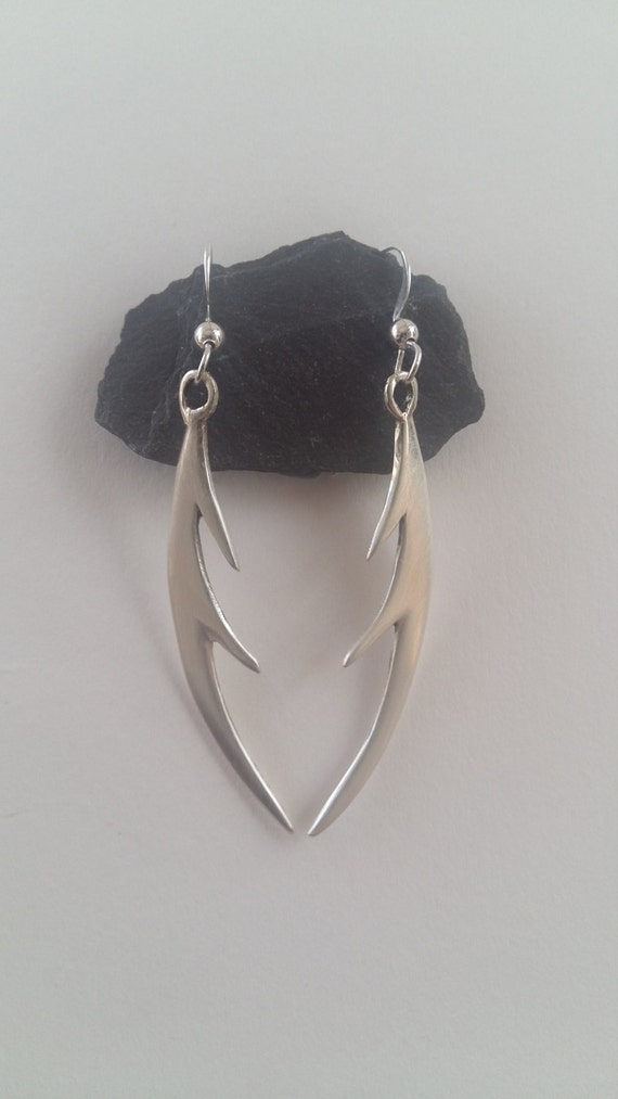 Handmade silver 'antler' style earrings