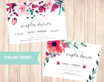 Wedding Shower Invitation, Floral Bridal Shower Card, Couples Shower Invite, Custome Invite