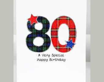 Special Wishes Large Birthday Tartan Number 80 Card SW TN80