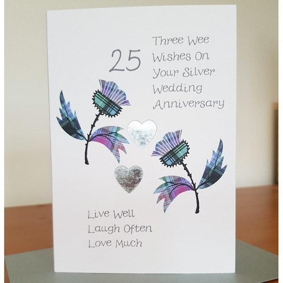 Scottish Silver Wedding Anniversary Card Thistle WWWE9