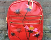 Painted leather backpack;...