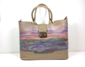 Painted Handbag in Taupe ...