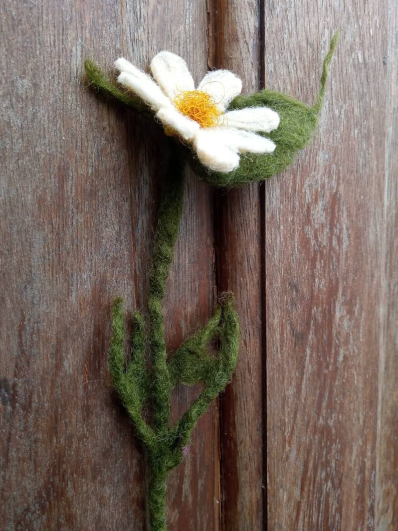 Hand made felted. Wild flower brooch or hair clip or bookmark Vintage profession