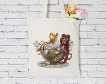 Organic Tote Bag. Mermaid tea