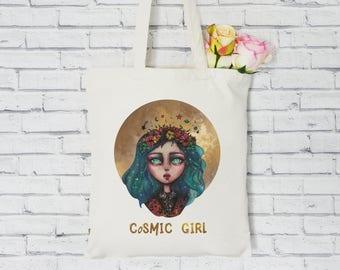 Organic Tote Bag. Cosmic girl