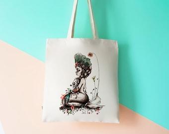 Organic Tote Bag. Mermaid