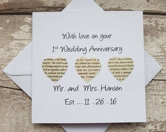 Personalised 1st Wedding Anniversary card - handmade first anniversary card - paper anniversary card