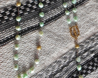 Green pearl rosary,pearl rosary,rosary,cultured pearl rosary