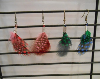 double spotted feather earrings,feather earrings