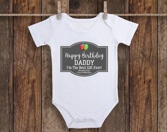 T Shirts Hemden Happy Birthday Daddy Cute Baby Vest Grow Bodysuit Present Dad Father Boys Girls