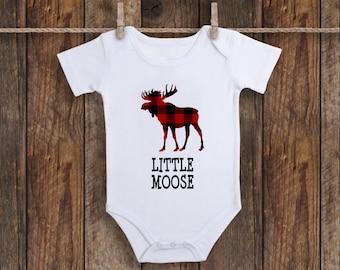Baby One Piece Boy Bodysuit Christmas Baby Shirt Baby Shower Gift Moose Bodysuit Buffalo Plaid Moose Bodysuit Baby Gift