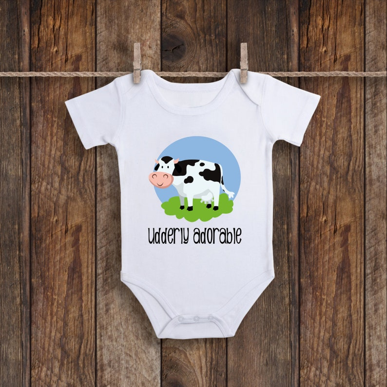 83aedb7c5 Udderly Adorable Cow Onesie Heifer Cow Baby Shower Cattle | Etsy