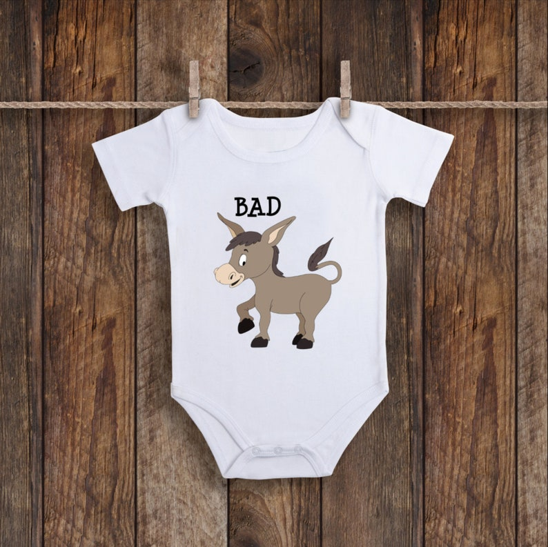 90e733f9f Badass Donkey Onesie Smart Ass Outfit Funny Baby Clothes   Etsy