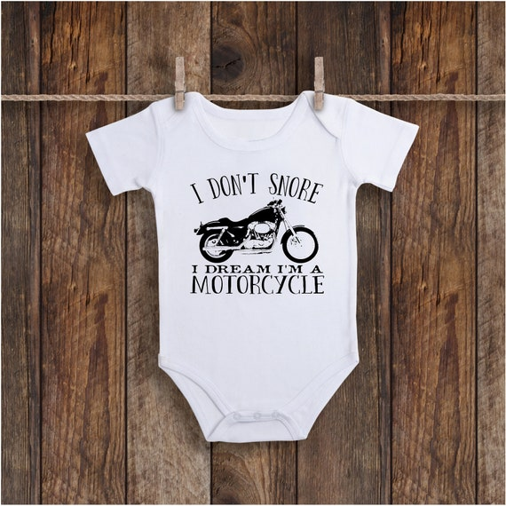 I dont snore i dream im a motorcycle motorcycle baby onesies cute baby onesies baby shower gift going home gift baby boy onesies,