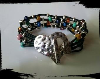 Heart bracelet, multicolor, leather, silver color-Corazon