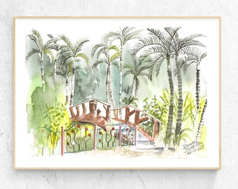 Watercolor Garden Bridge Illustration Painting, Garden Lover Gift, Park Bench Landscape, Zen Wall Art, Palm Tree Wall Art, Garden Scene