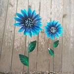 Metal Flower Garden Stake,  Metal Sunflower Garden Art,  Metal Garden Decor,  Sunflower Yard Decoration, Blue Sunflower