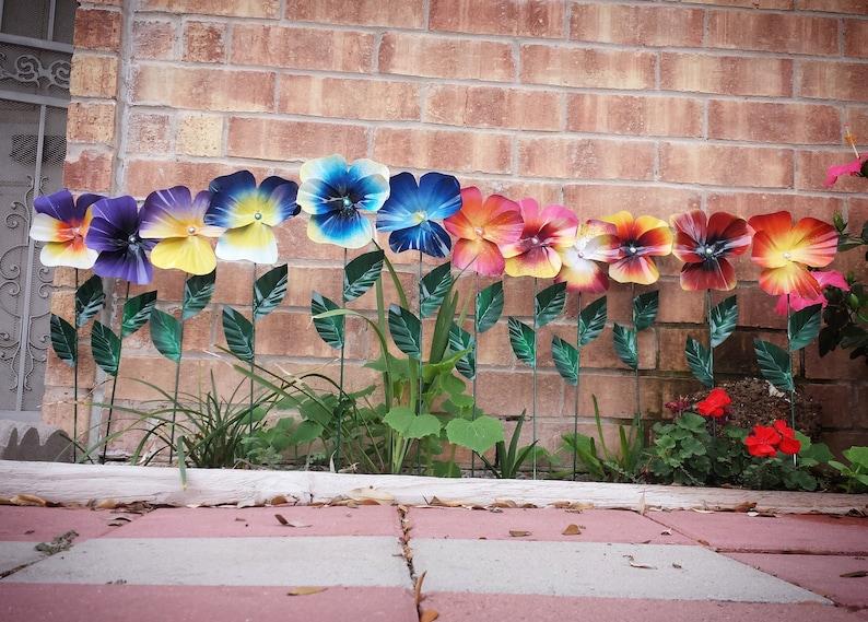 Metal Pansy Flower Garden Stake  Pansy Flower Garden Art image 0