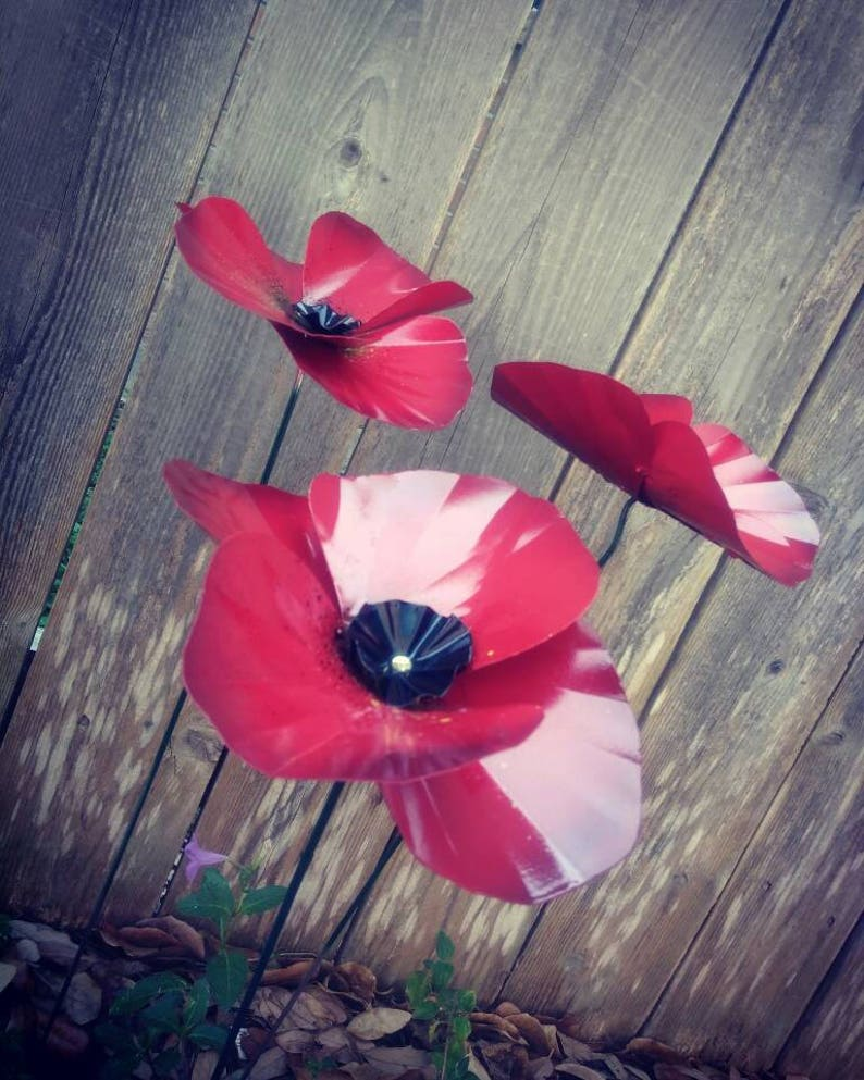 Metal Garden Stake  Poppy Flower  Metal Garden Art  Metal image 0