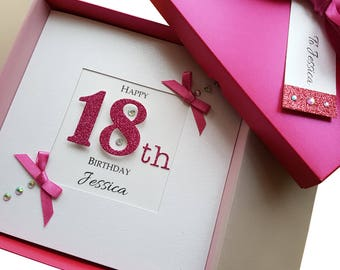 Personalised Handmade Birthday Card GIFT BOX Mum Grand Daughter  18 21 30 40 50 Celebrations & Occasions Cards & Invitations