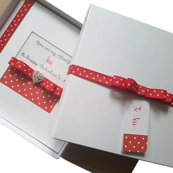 LARGE A5 Personalised Handmade LUXURY Boxed Valentine/'s Day Card Crystal Heart