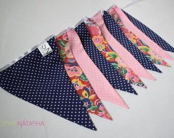 Navy and Pink Pop Art/Polka Dot Handmade Fabric Bunting - 10 Flags, 2 M - Navy and Pink Polka Dot and Floral Pop Art Fabric