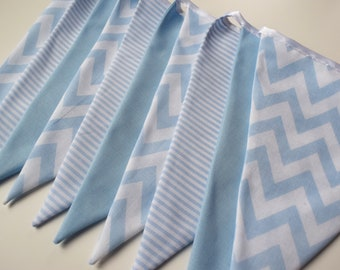 Blue Chevron and Blue  Handmade Nursery Fabric Bunting - 10 Flags, 2 M - Blue Chevron and Blue Stripe Fabric