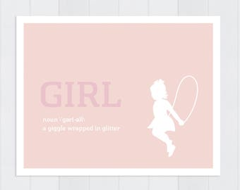 Girl Definition Poster, Boy Definition Poster, Children's Nursery Poster,  14x11""