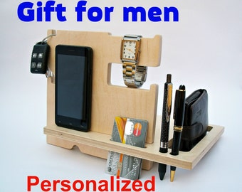 Gift For Husband Personalized Gifts Birthday Present Men Wood Docking Station