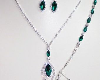 3 Pc Rose Gold  and Green Crystal Necklace Set