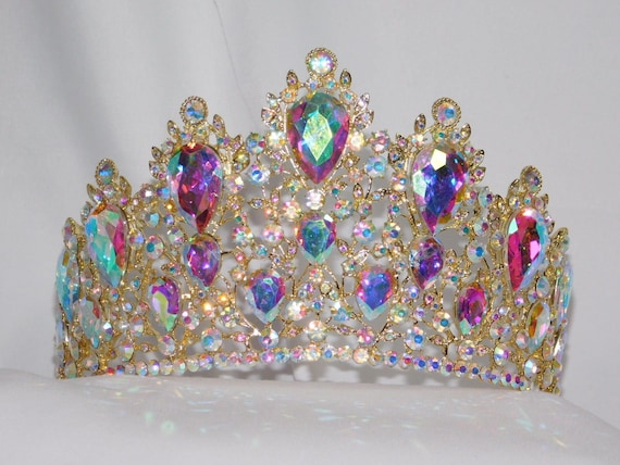 IRIDESCENT RHINESTONE CRYSTAL BEAUTY QUEEN LARGE TIARA CROWN BRIDAL PAGEANT 1353