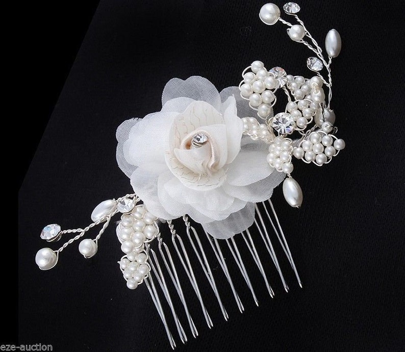 Brand New Brilliant Bride Wedding Ivory Hair Comb With Organza Flowers Pearl and Crystal  3757