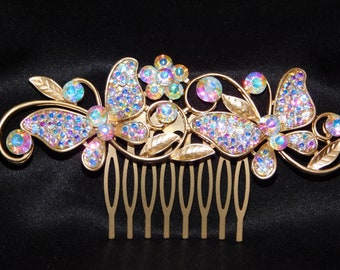 Brand New Bridal Hair Comb Gold AB Rhinestone Butterfly Hair Accessories /3114