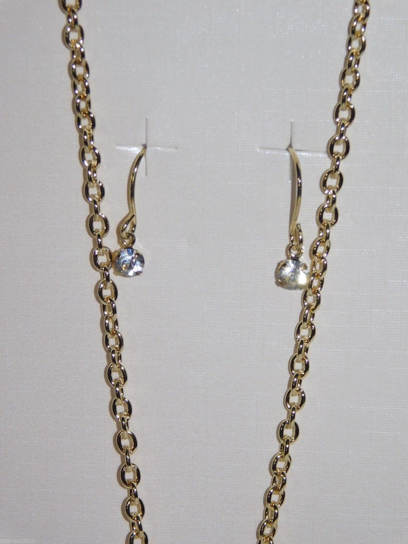 Brand New Valentines Day Love Heart Gold Rhinestone Necklace and Earrings Set
