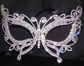 Silver Rhinestone Masquerade Butterfly Mask Mardi Gras Party W. Black Ribbon