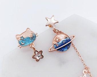 Cat earrings; dangling earrings; Space cat earrings; meow; cute cat; cats accessories; cat star; star earrings