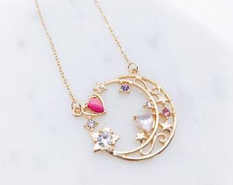 Sailor Moon necklace; Sailor Moon; Sailor Moon Jewelry; Moon necklace; Moon jewelry; Japanese; Princess necklace; shiny crystal;