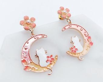 Cat earrings; Sakura Earrings; cats accessories; cherry blossoms; Japanese earrings; cute earrings