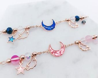 Sailor Moon bracelet; Sailor Moon accessories; Moon jewelry; anime bracelet; shiny bracelet; space bracelet