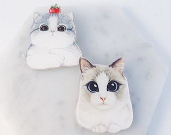Cat pins; fluffy cats; cat accessories; meow; big eyes; cat brooch