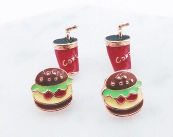 Burger & Coke Earrings; Burger earrings; Coke earrings; Junk food earrings; Food studs; cute earrings