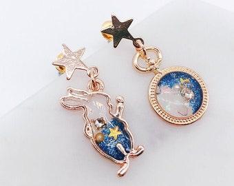 Alice in wonderland earrings; Bunny Earrings; Space galaxy earrings; Mix & Match; Set earrings