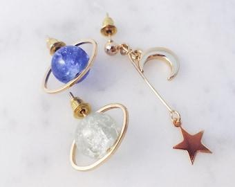 Saturn earrings; galaxy earrings; space earrings; space pierces