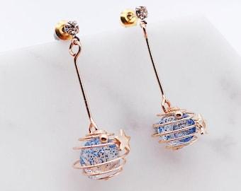 Saturn earrings; galaxy earrings; dangling earrings; shiny earrings;