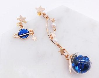 Saturn Globe Earrings; galaxy earrings; dangling earrings; shiny earrings; star globe;