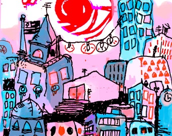 Bunny In the City Art Print GoodKidRob Prints Purple 11 X 14